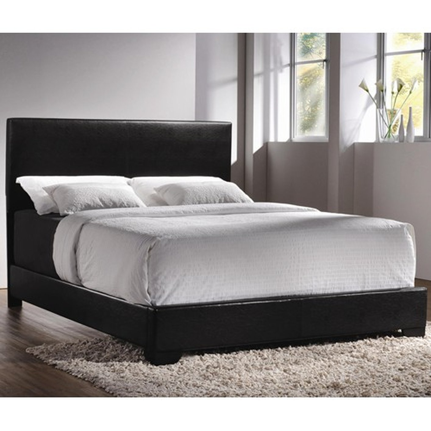 Coaster 300260Q Black Queen Size Leather Bed - Steal-A-Sofa ...
