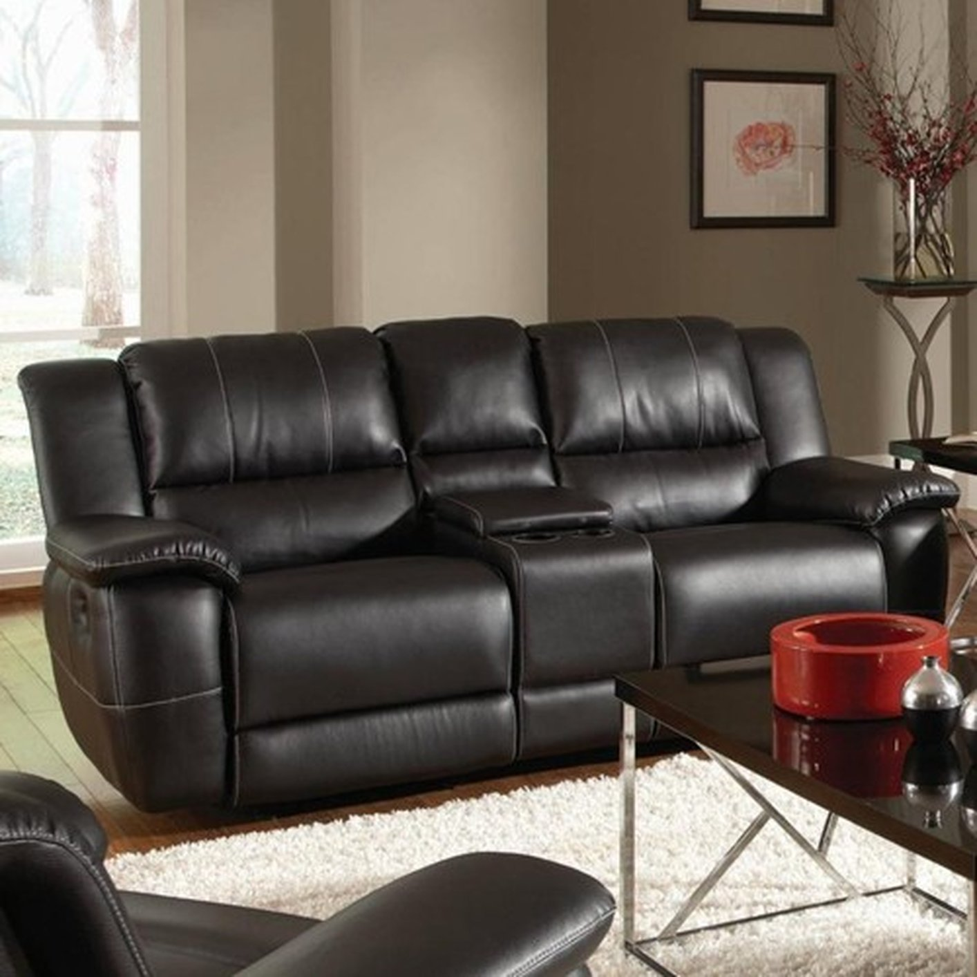 601062 black leather reclining loveseat steal a sofa furniture