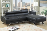Rockwell Black Leather Sectional Sofa