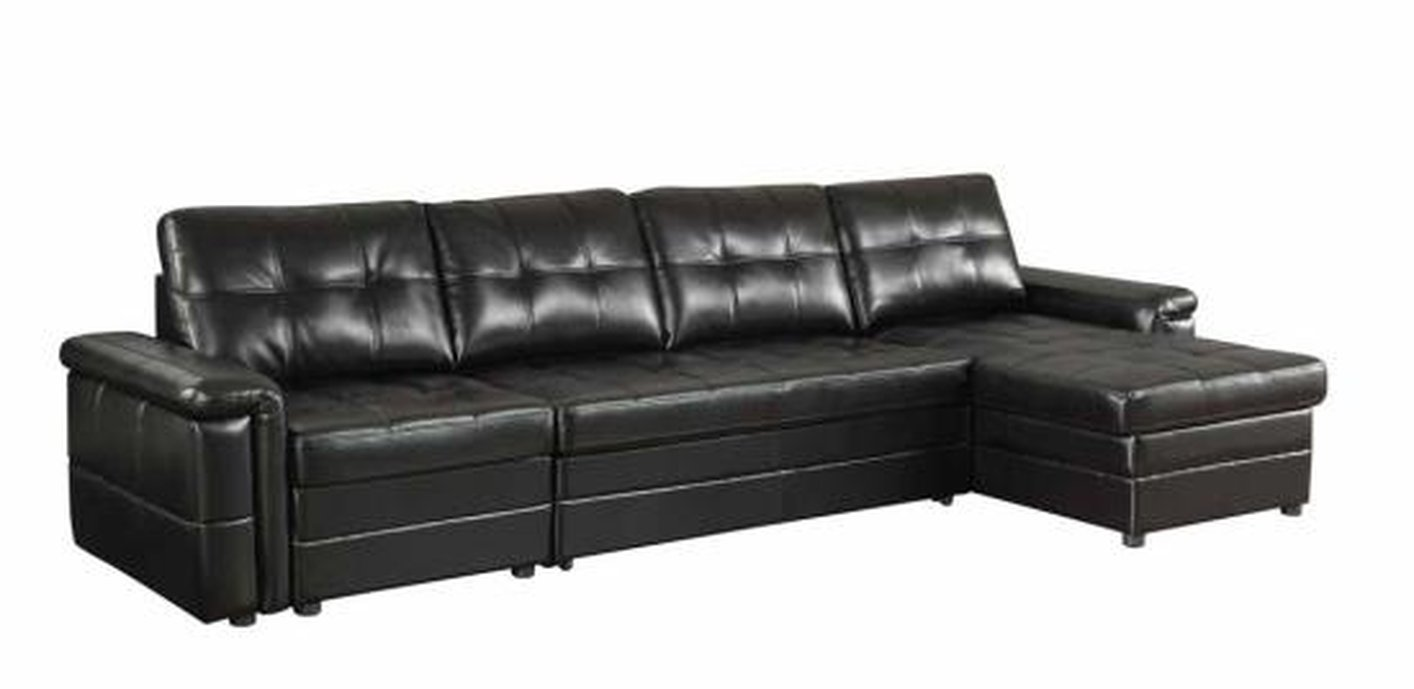 Coaster 500527 Black Leather Sectional Sleeper Sofa