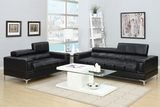 Black Leather Sofa and Loveseat Set
