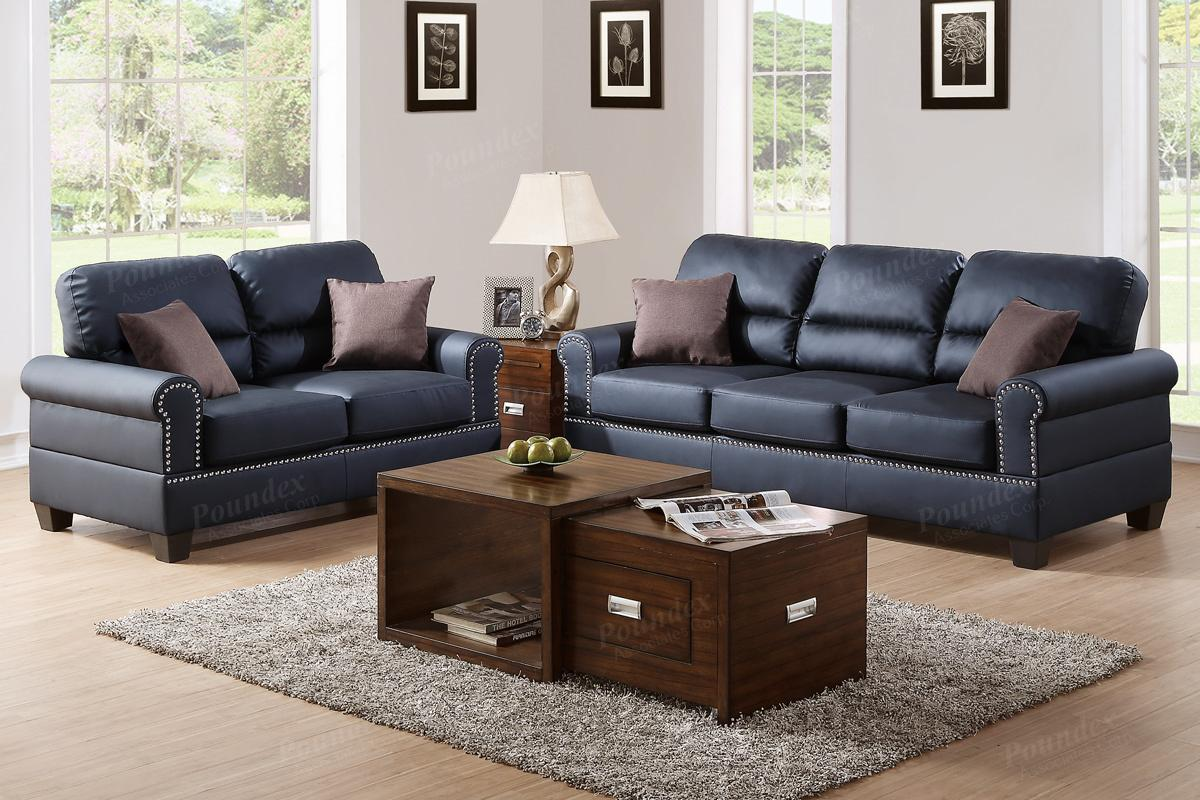 Poundex Aspen F7877 Black Leather Sofa And Loveseat Set
