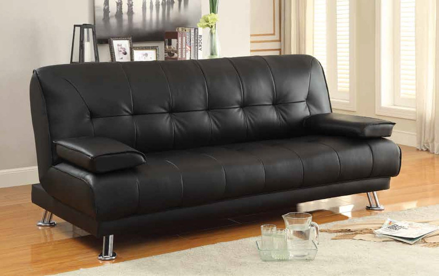 Coaster 300205 Black Leather Sofa Bed Steal A Sofa