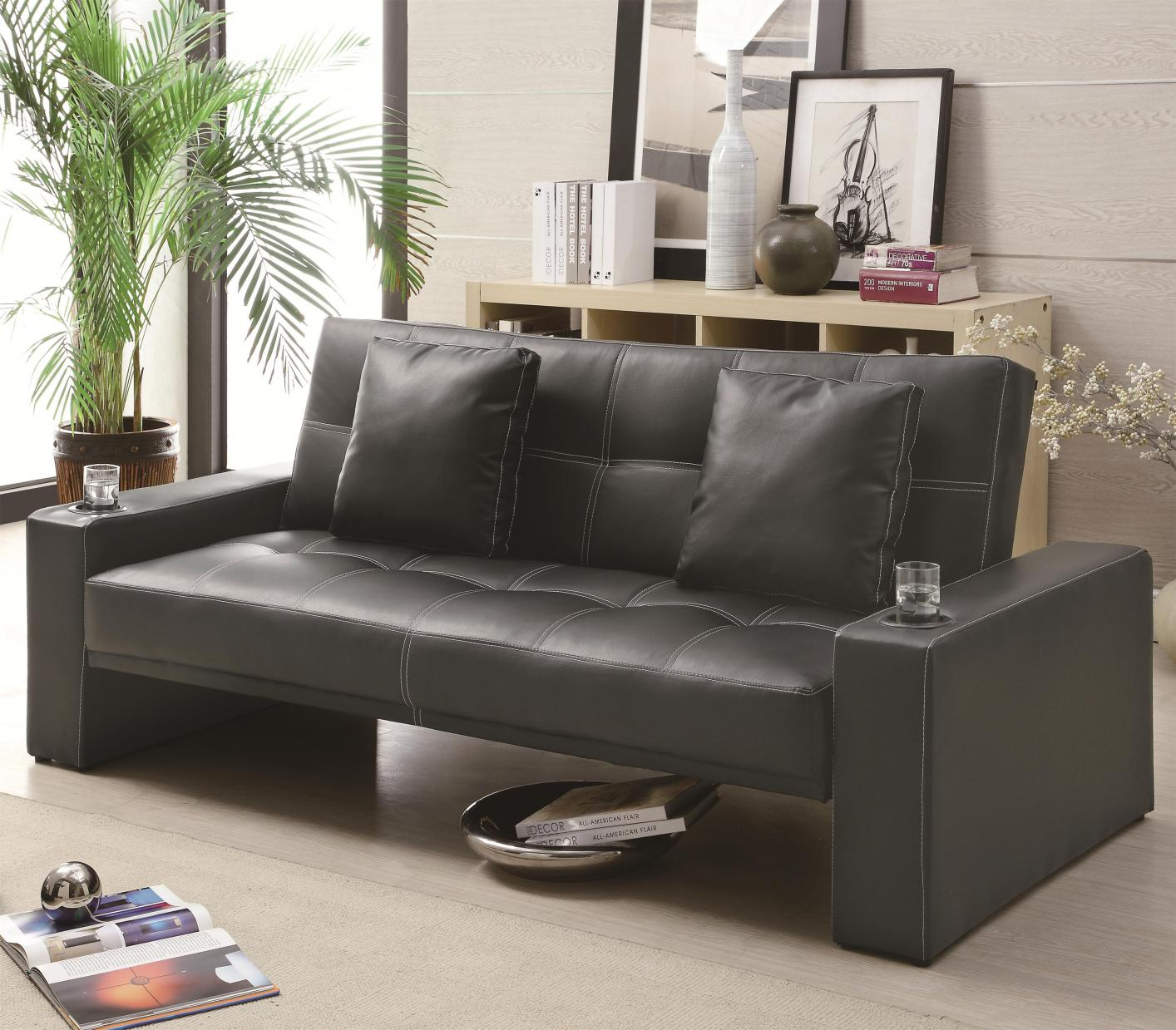 Sofa Bed For Sale In Quezon City: Coaster 300125 Black Leather Sofa Bed