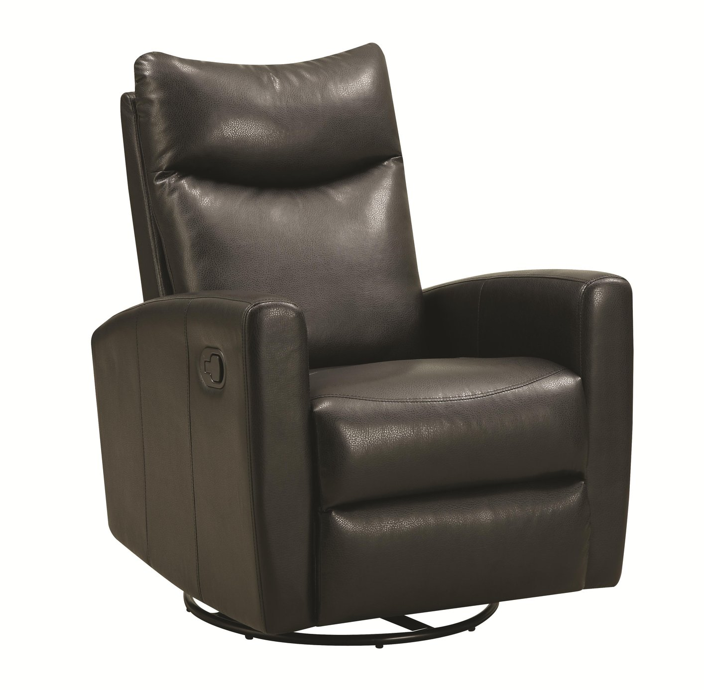 Coaster Black Leather Swivel Recliner Steal A