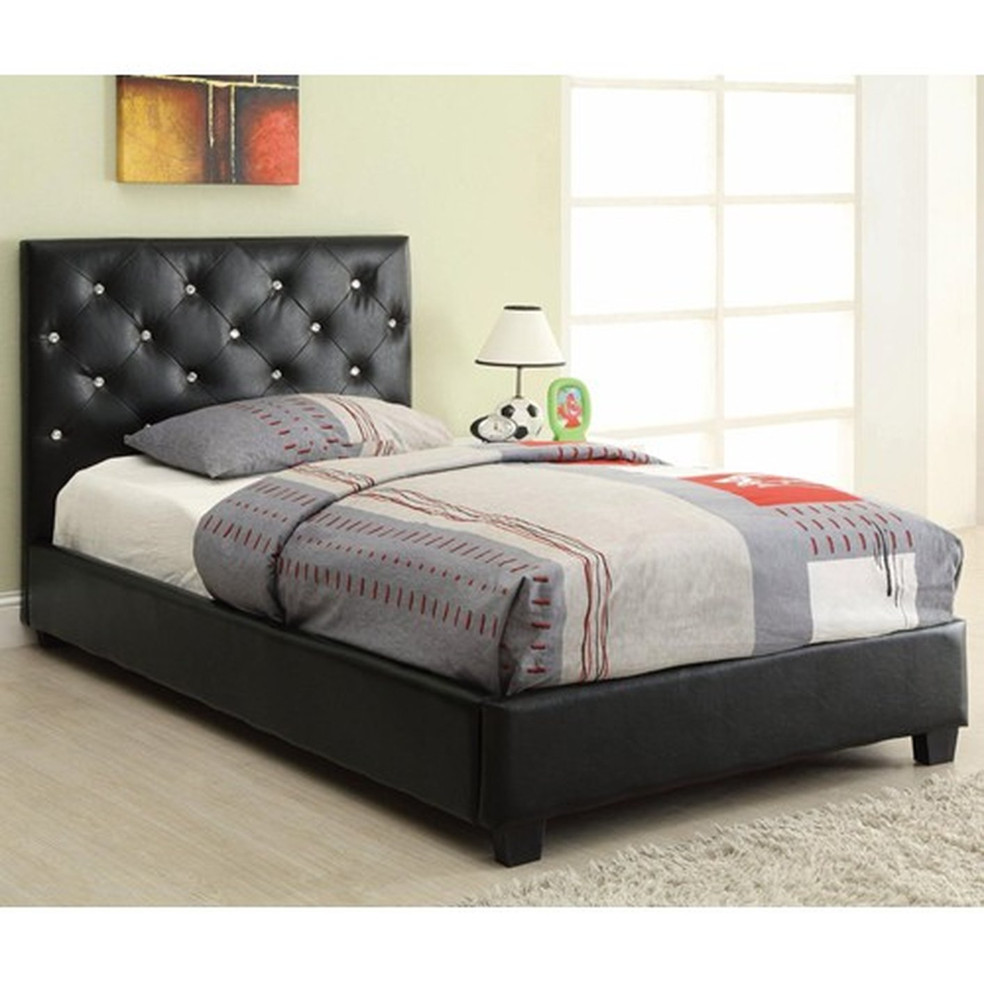 coaster 300391t black twin size leather bed stealasofa