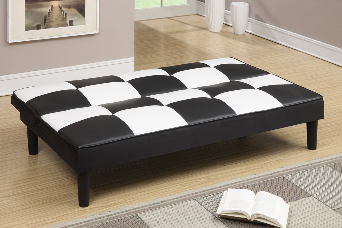 Poundex F7002 Black Twin Size Leather Sofa Bed - Steal-A-Sofa ...