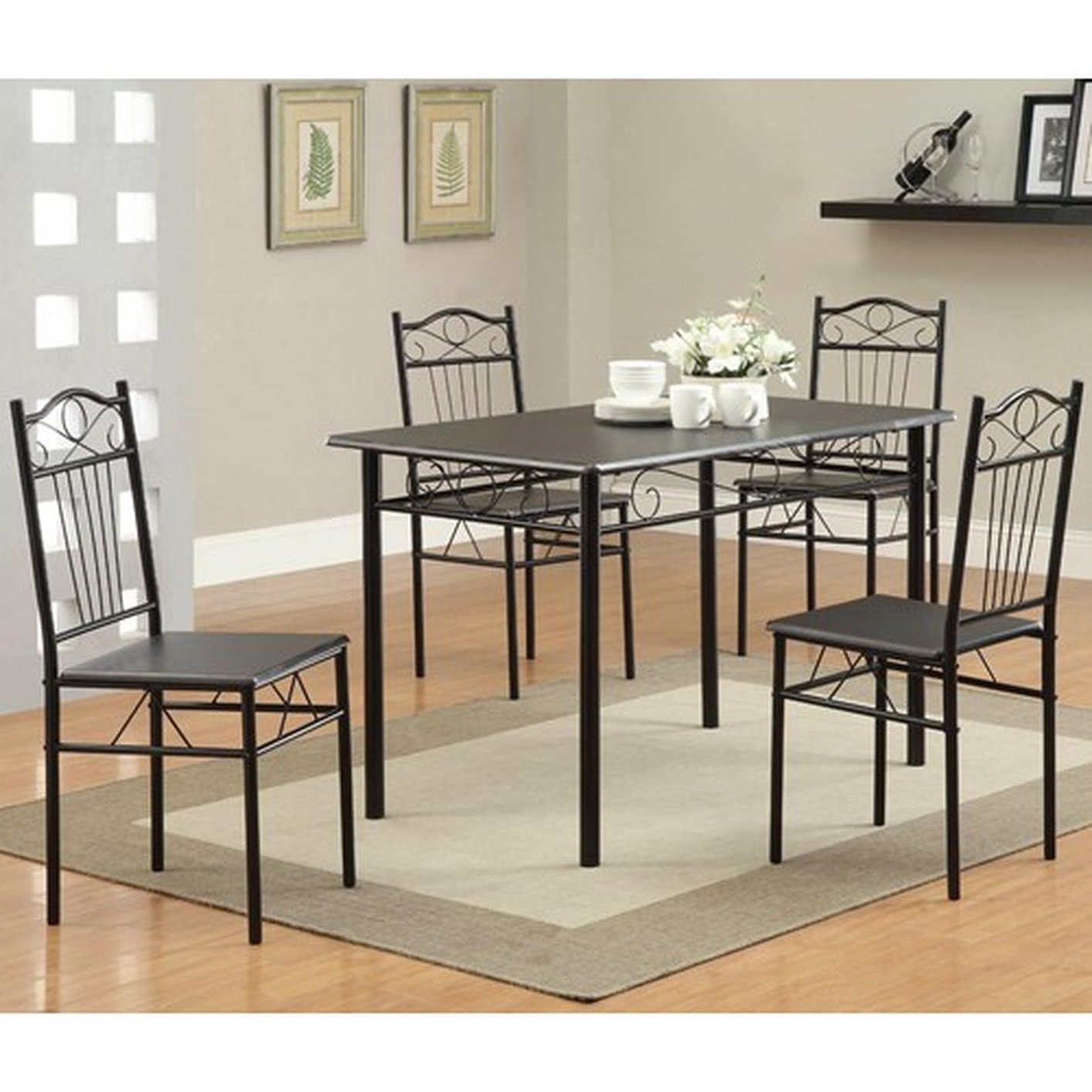 Iron Table And Chairs Set Coaster 120573 Black Metal Dining Table And Chair Set Steal A