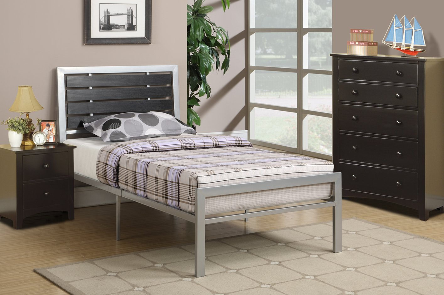 poundex f9412t black twin size metal bed steal a sofa furniture
