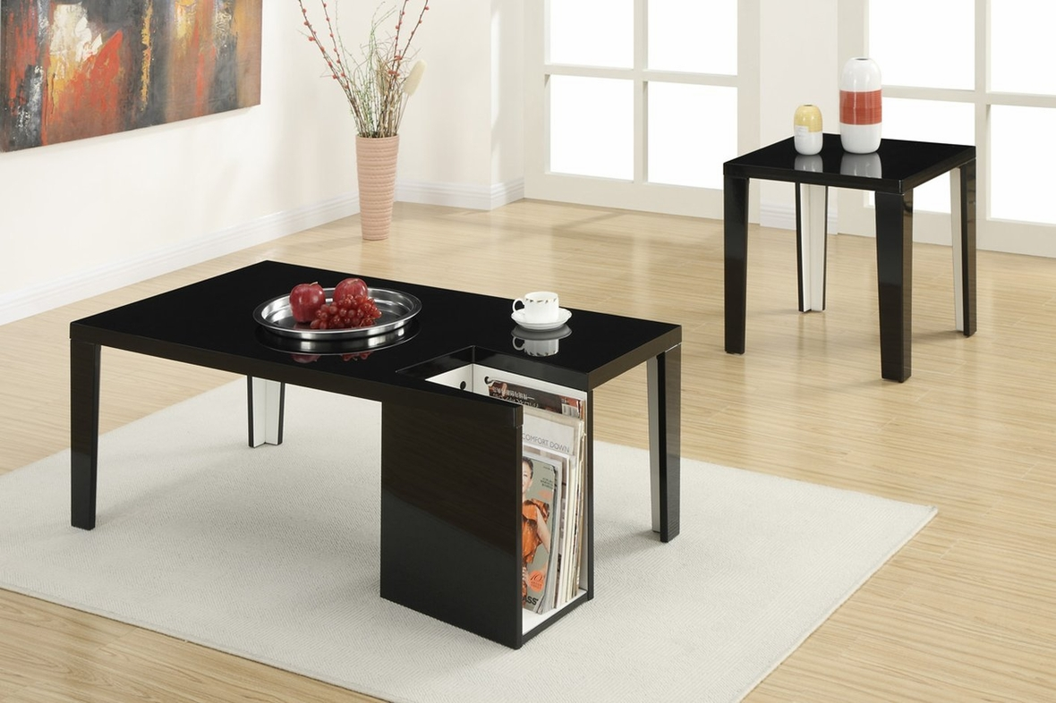 Black and wood coffee table - Out Of Stock