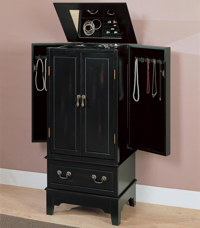 Coaster 900095 Black Wood Jewelry Armoire Steal A Sofa