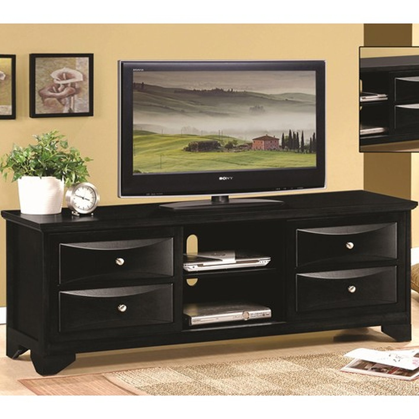 Coaster 700726 Black Wood TV Stand Steal A Sofa