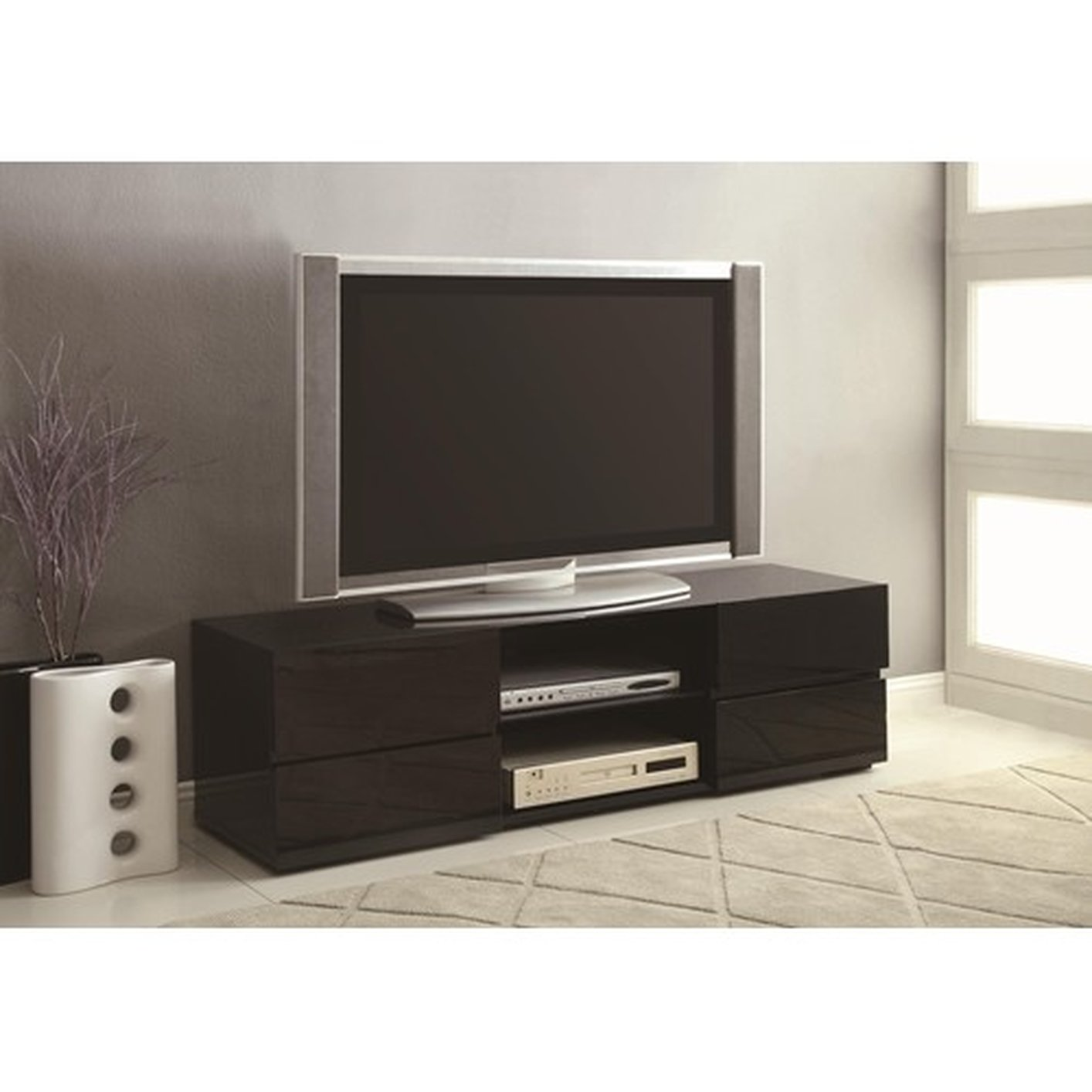Coaster 700841 Black Wood TV Stand - Steal-A-Sofa Furniture Outlet Los ...