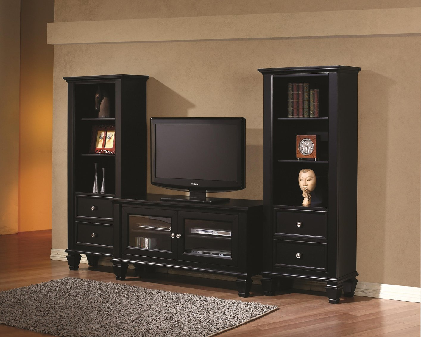 Coaster 702251 Black Wood TV Stand