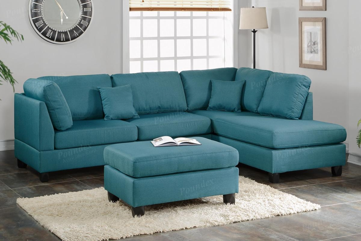 Poundex Courtney F7607 Blue Fabric Sectional Sofa And