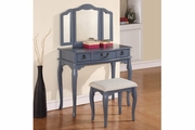 Blue Fabric Vanity Set with Stool
