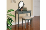 Blue Glass Vanity Set with Stool