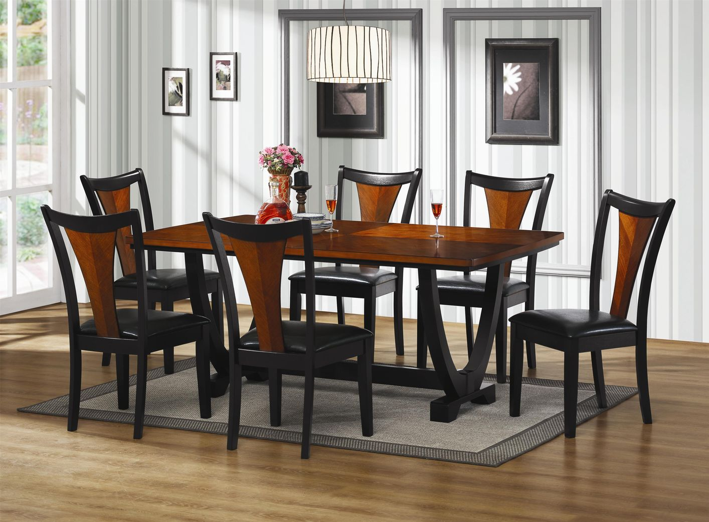 Wooden Kitchen Table Set Dining Room Sets Black And Cherry Collective Dwnm