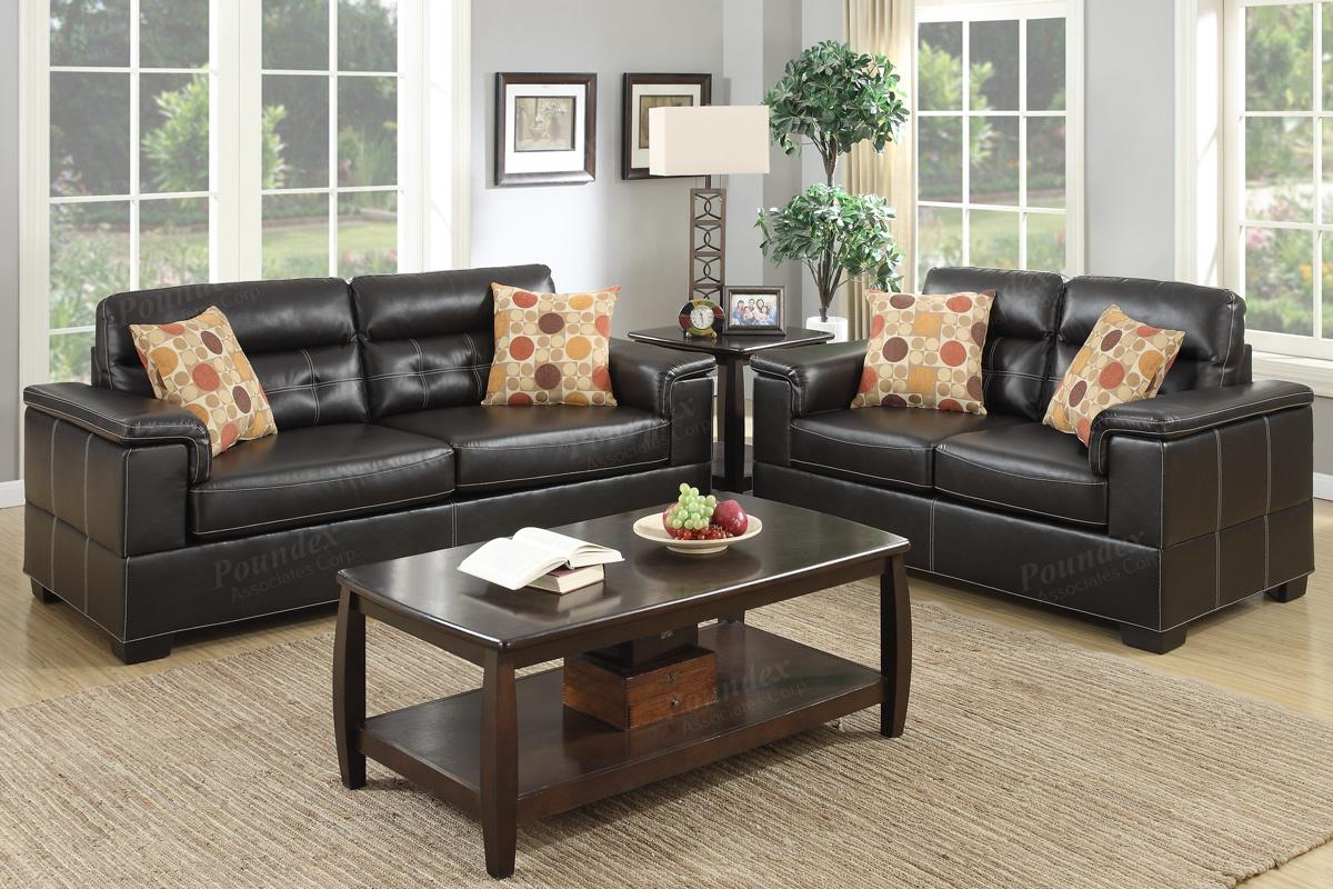 Poundex Bron F7699 Brown Leather Sofa and Loveseat Set Steal A Sofa Furniture Outlet Los
