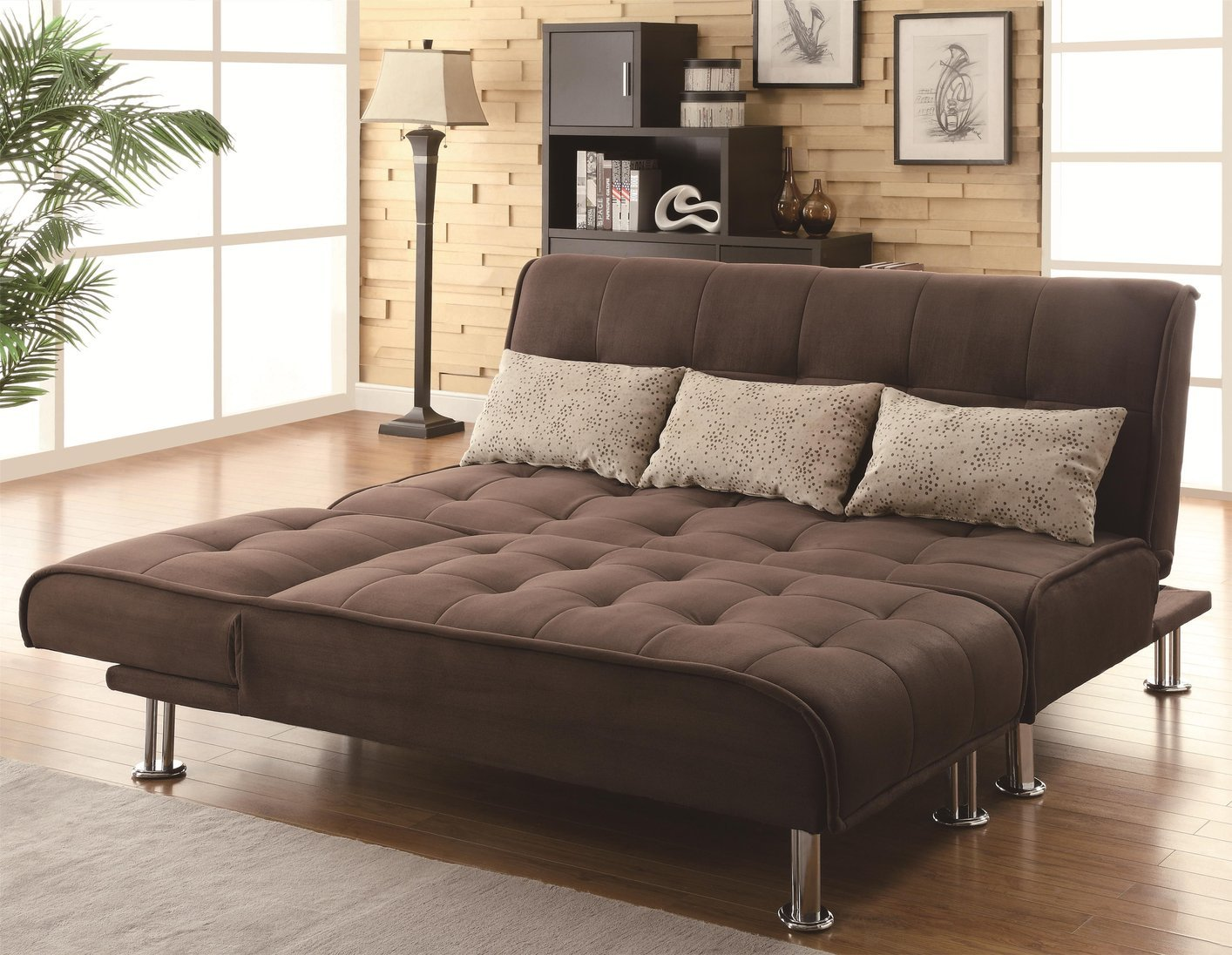 Coaster 300277 Brown Fabric Chaise Lounge Steal A Sofa