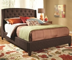 Brown Fabric Eastern King Size Bed