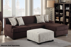 Nia Brown Fabric Sectional Sofa
