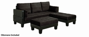 Brown Fabric Sectional Sofa and Ottoman