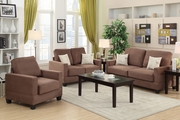 Rebel Brown Wood Sofa Loveseat and Chair Set