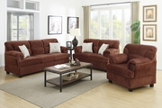 Notus Brown Wood Sofa Loveseat and Chair Set