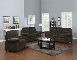 Brown Fabric Sofa Loveseat and Chair Set
