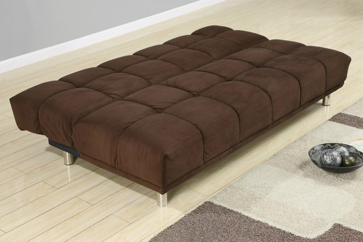 Poundex F7217 Brown Twin Size Fabric Sofa Bed Steal A