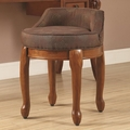 Brown Fabric Vanity Stool