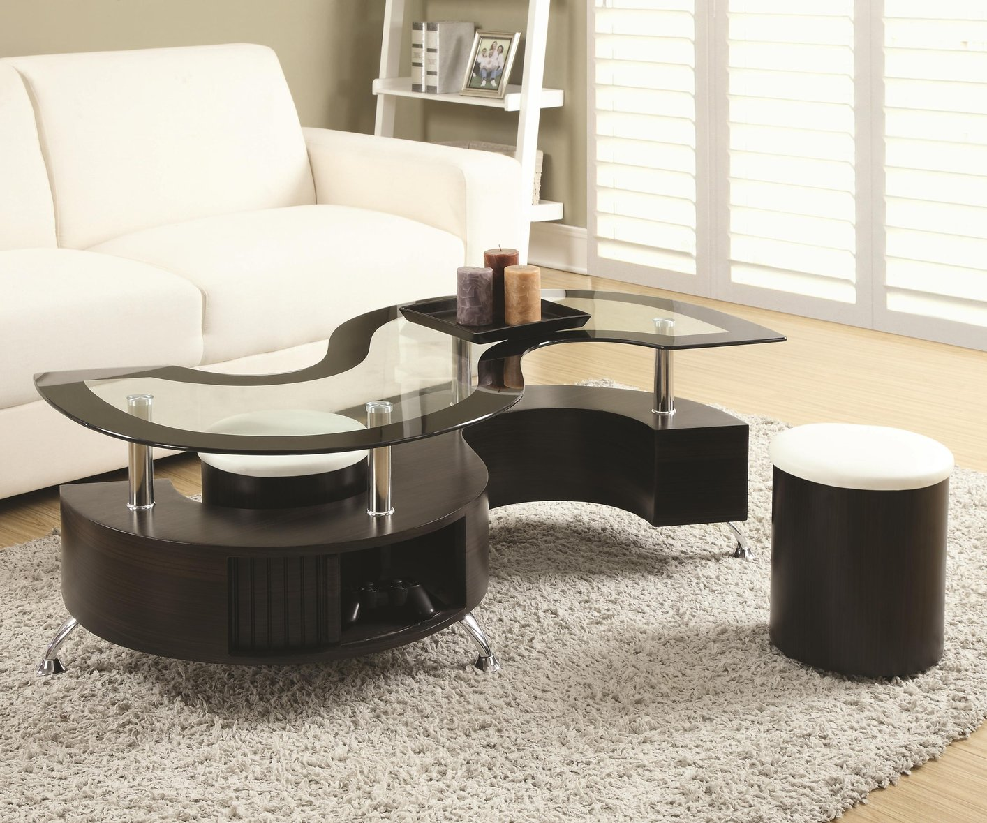 S Shaped Coffee Table Coaster 720218 Brown Glass Coffee Table Steal A Sofa Furniture