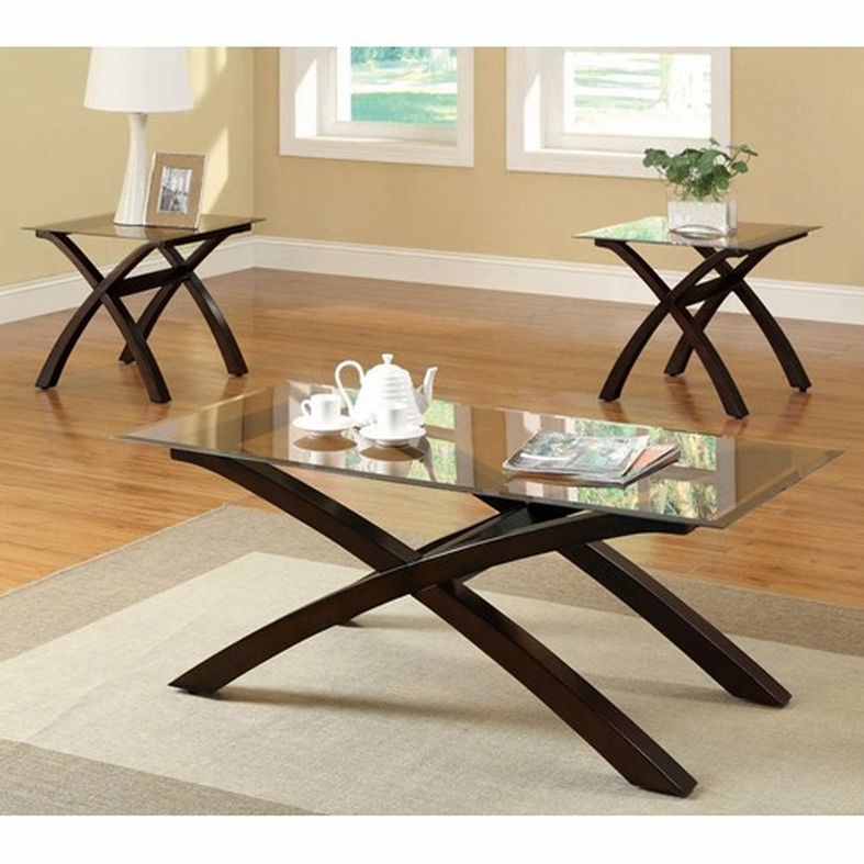 Glass Coffee Tables Set: Coaster 701610 Brown Glass Coffee Table Set