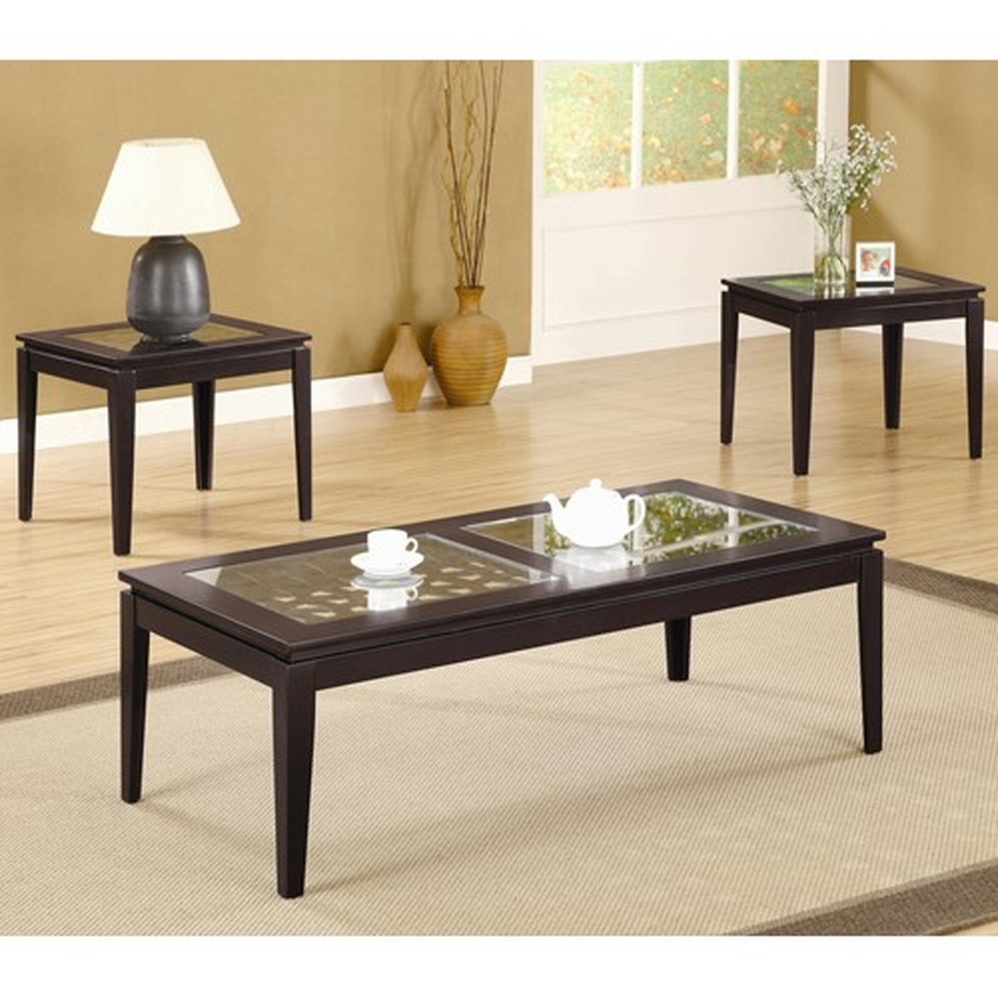 Glass Coffee Tables Set: Coaster 700205 Brown Glass Coffee Table Set