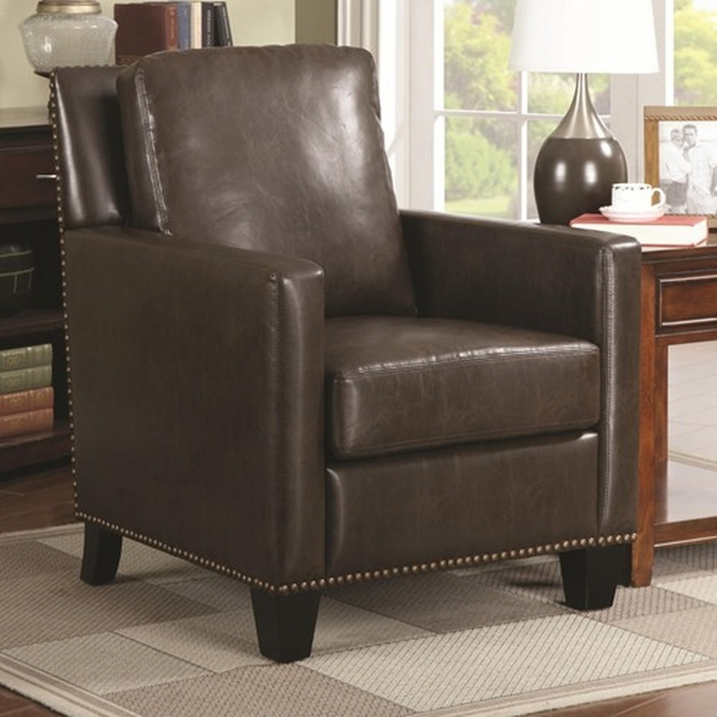 Tan Leather Accent Chair: Coaster 902174 Brown Leather Accent Chair