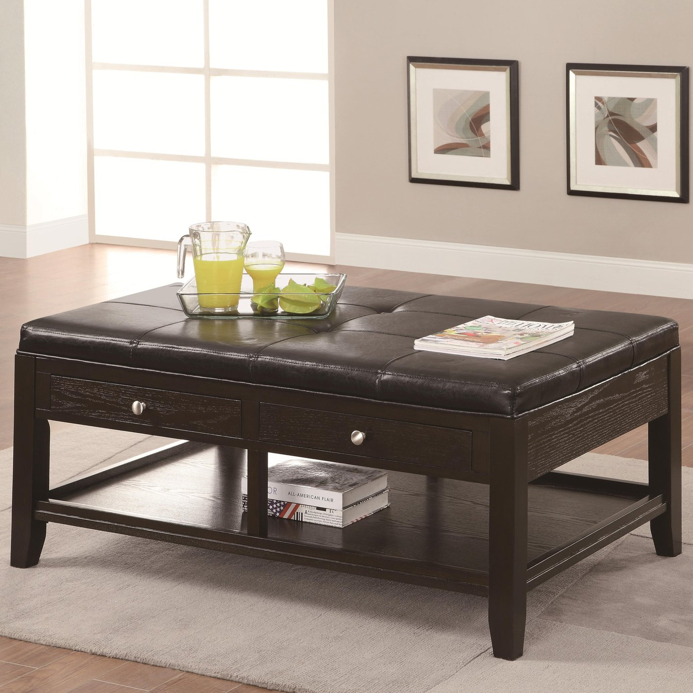 Coffee Table Leather Drawers: Coaster 702498 Brown Leather Coffee Table
