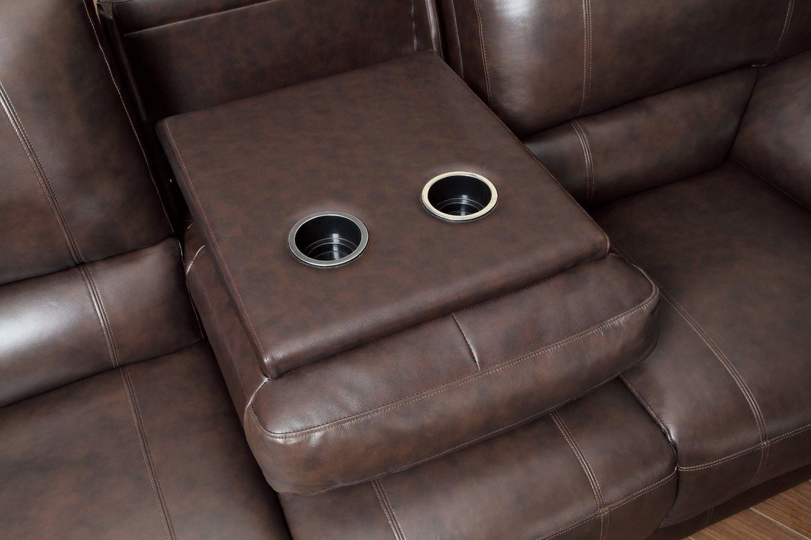 Coaster 600021sp Brown Leather Power Reclining Sofa