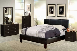 Brown Leather Queen Size Bedroom Set