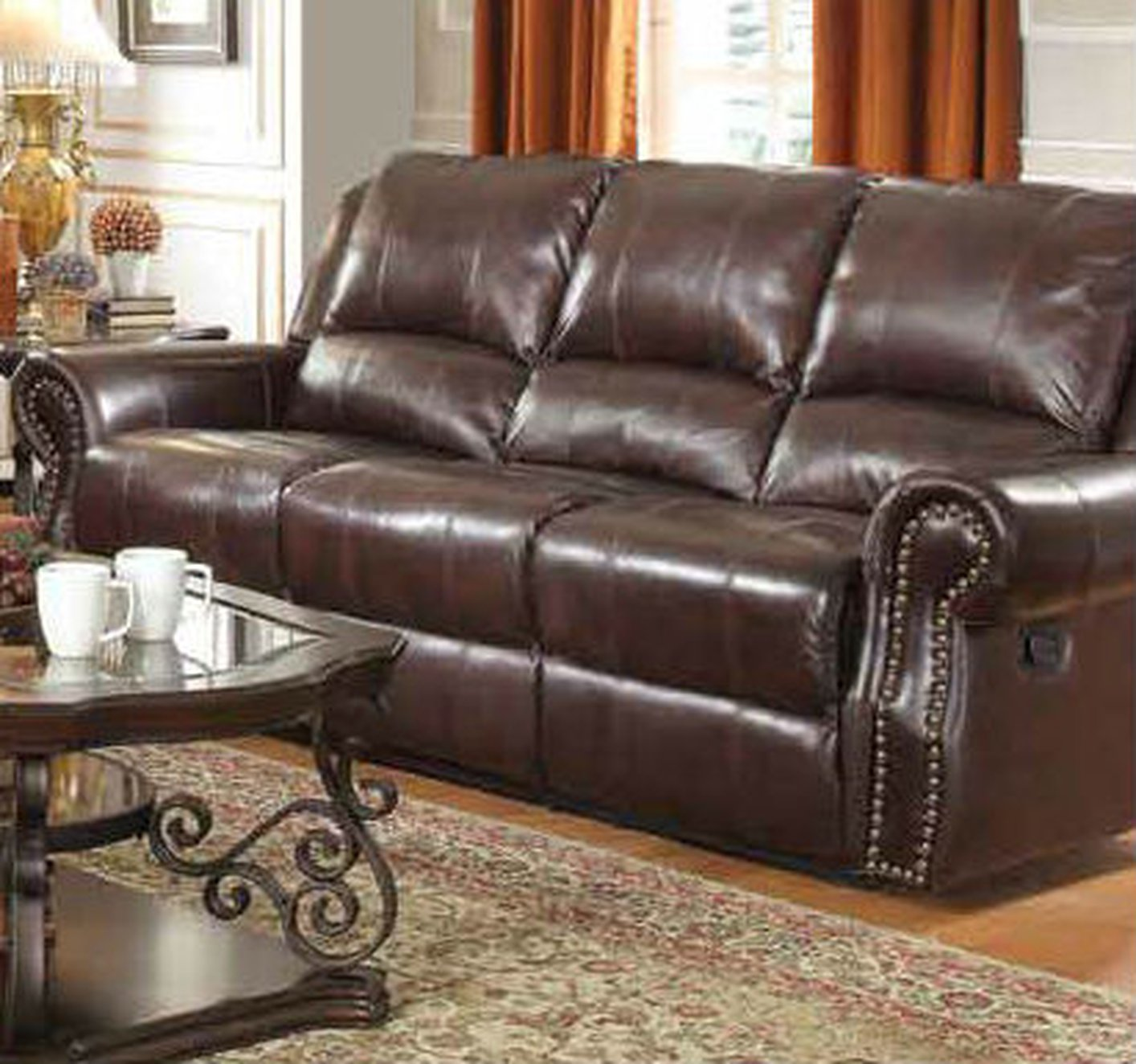 Coaster 650161 Brown Leather Reclining Sofa Steal A Sofa