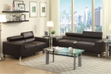 Falcon Brown Leather Sofa and Loveseat Set
