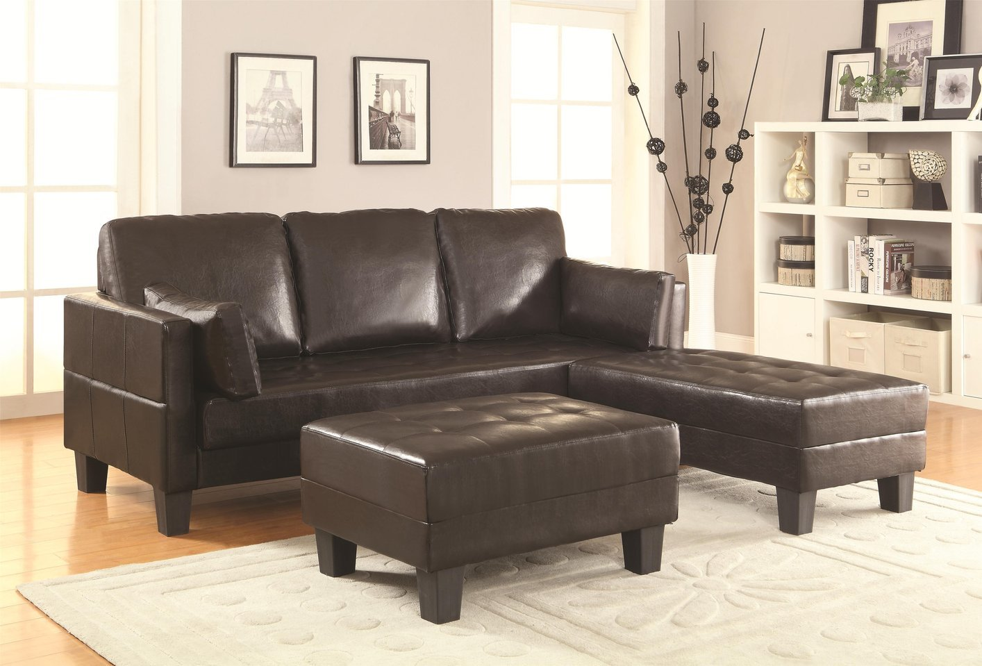 Coaster Brown Leather Sofa Bed and Ottoman Set Steal A Sofa Furniture Outlet Los Angeles CA