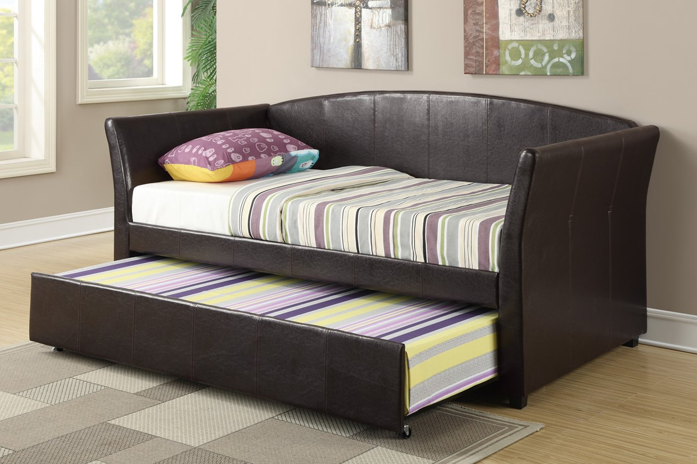 Poundex F9221 Brown Twin Size Leather Bed - Steal-A-Sofa ...