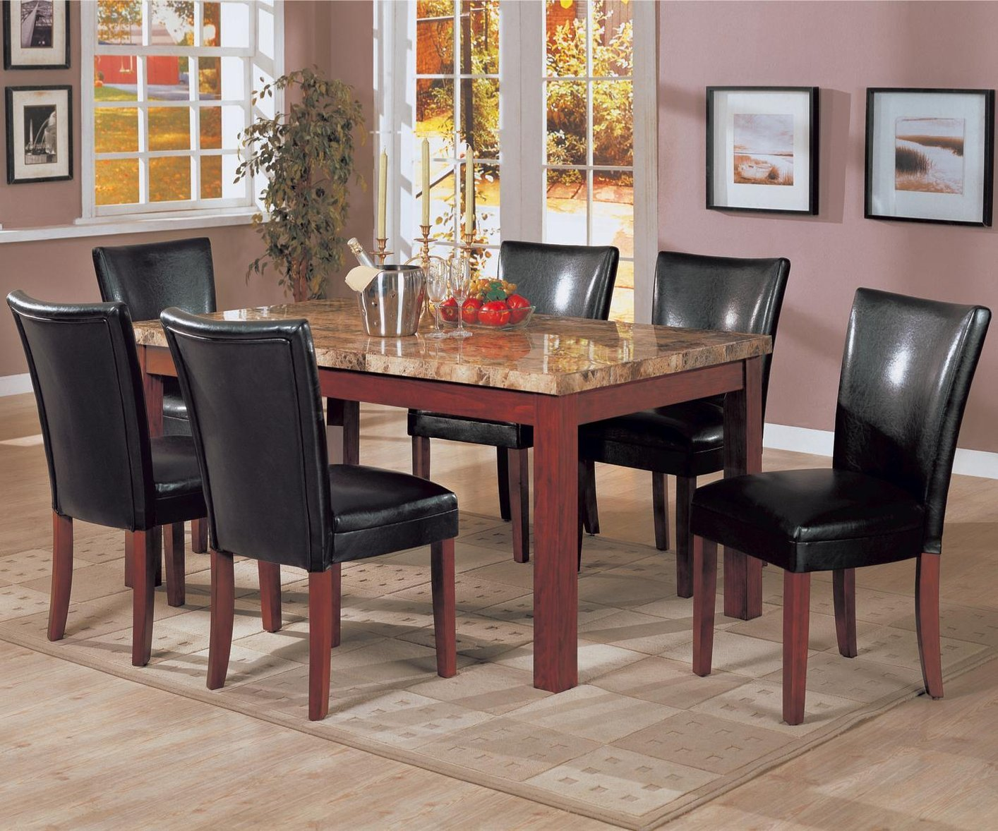 Coaster 120311 Brown Marble Dining Table Steal A Sofa Furniture Outlet Los
