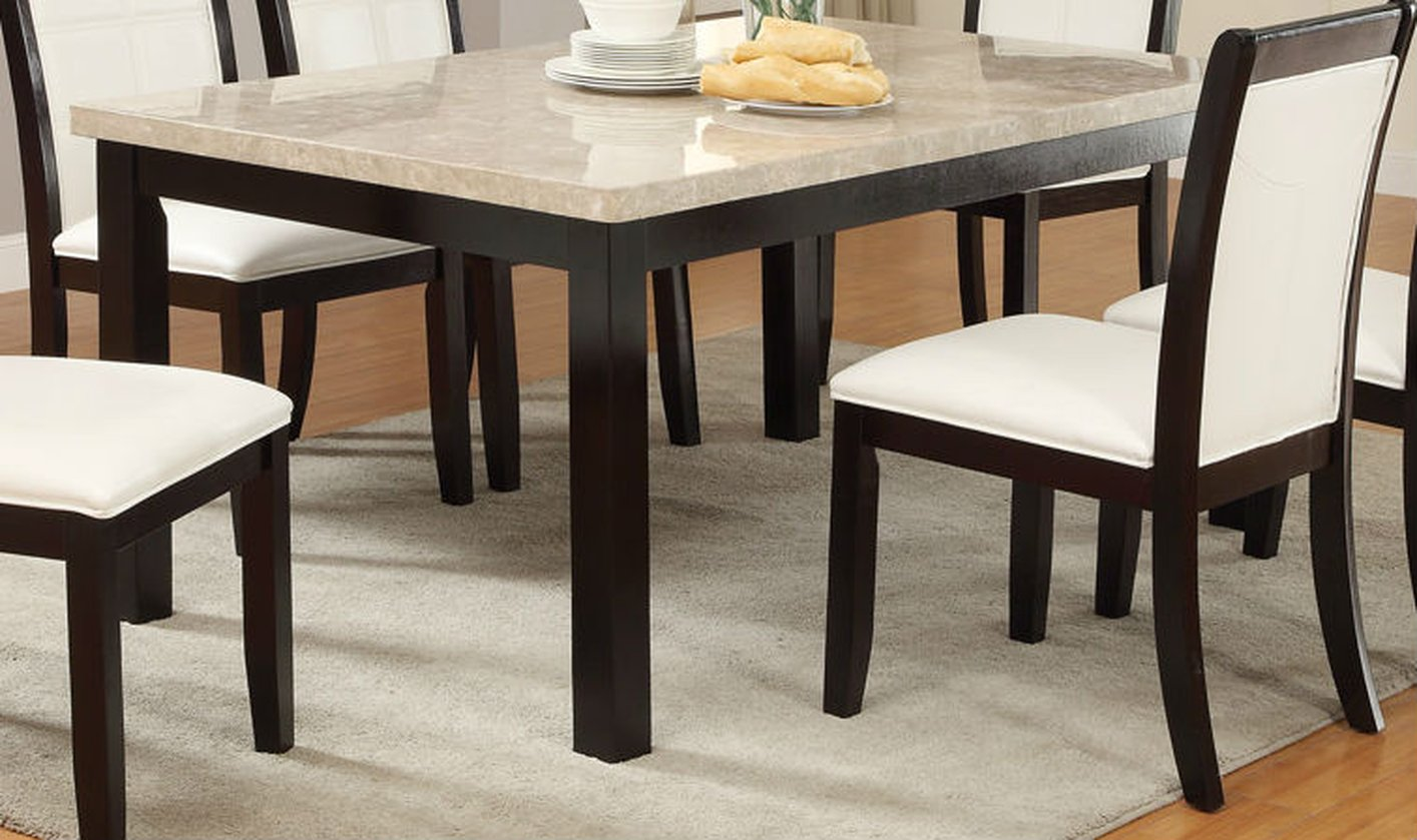 Poundex F2296 Brown Marble Dining Table Steal A Sofa Furniture
