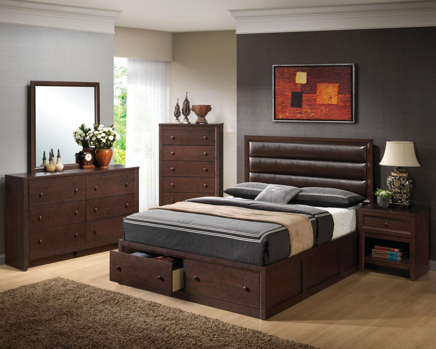 brown wood california king size headboard
