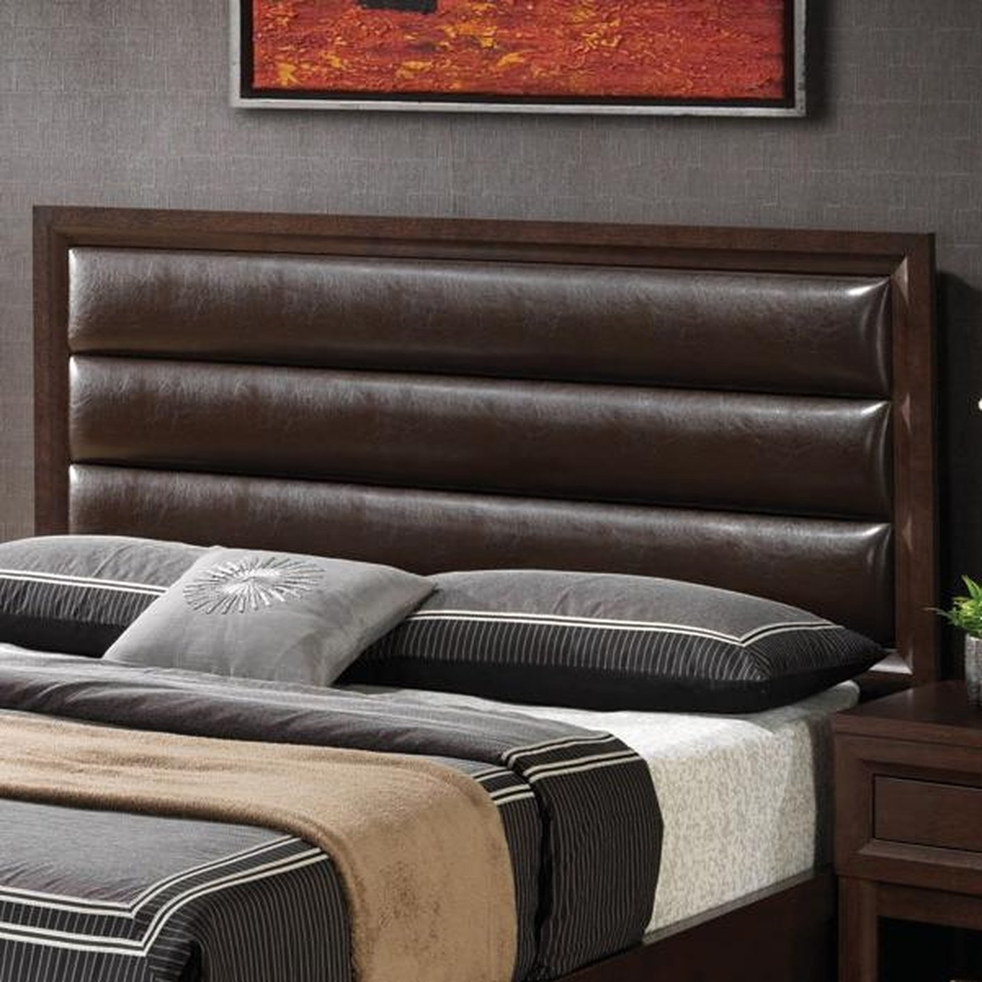 brown wood queen size headboard