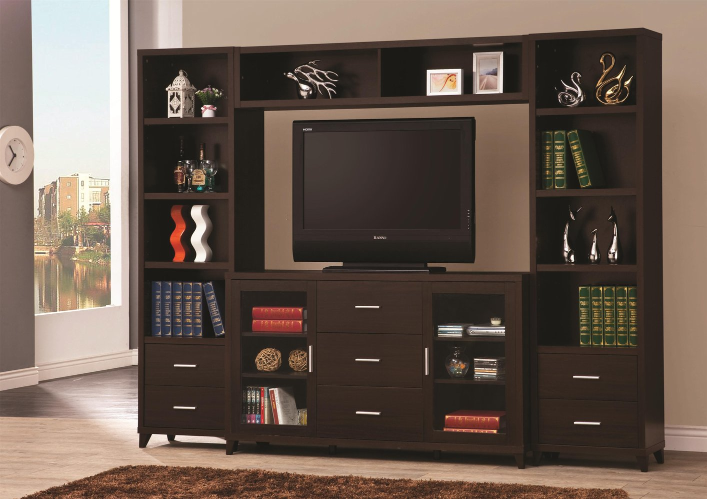 Top Coaster Brown Wood Tv Stand Stealasofa Furniture Outlet With Wood Tv  Stand.