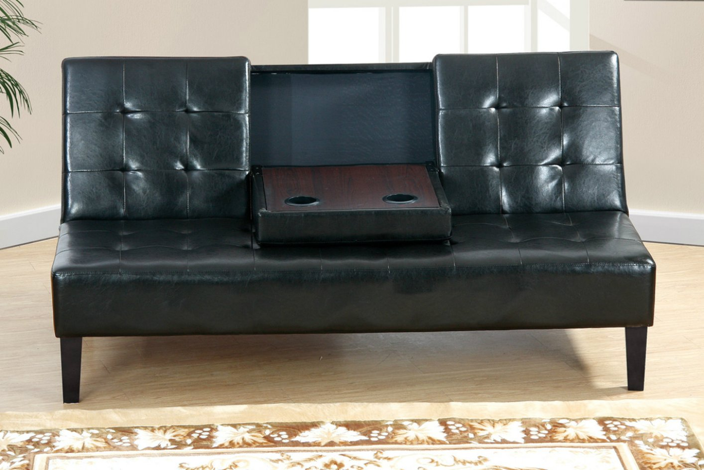 Poundex F7209 Black Twin Size Leather Sofa Bed Steal A Sofa
