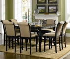 Cabrillo Dark Black Wood Pub Table Set